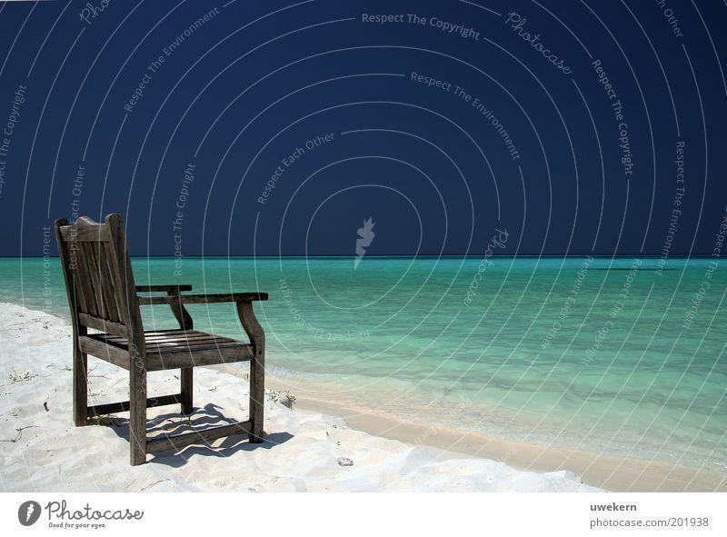 Fernweh Natur Landschaft Sand Luft Wasser Himmel Wolkenloser Himmel Horizont Sommer Schönes Wetter Wärme Wellen Küste Meer Indischer Ozean Insel Malediven Asien