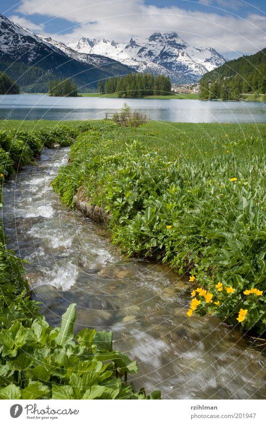 Am Champferersee Natur Wasser grün Wolken Schnee Wiese Berge u. Gebirge Frühling See Landschaft Felsen Europa Fluss Schweiz Alpen Bach
