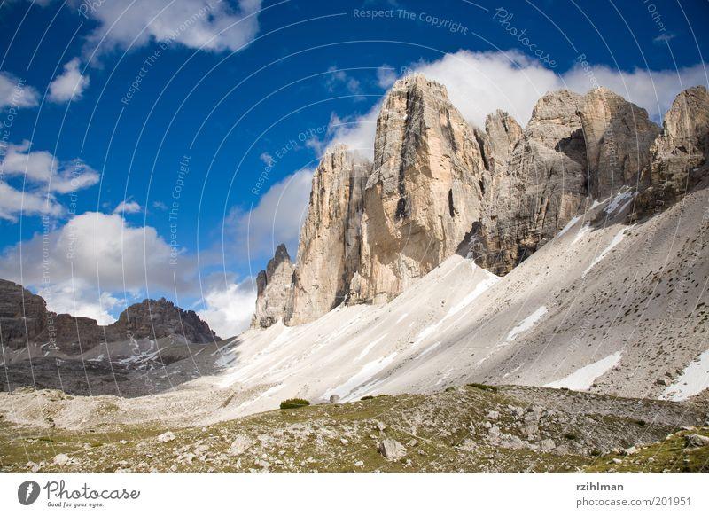 Die Drei Zinnen Natur Himmel weiß blau Sommer Wolken Schnee Berge u. Gebirge Landschaft Felsen Europa Italien Alpen massiv Dolomiten