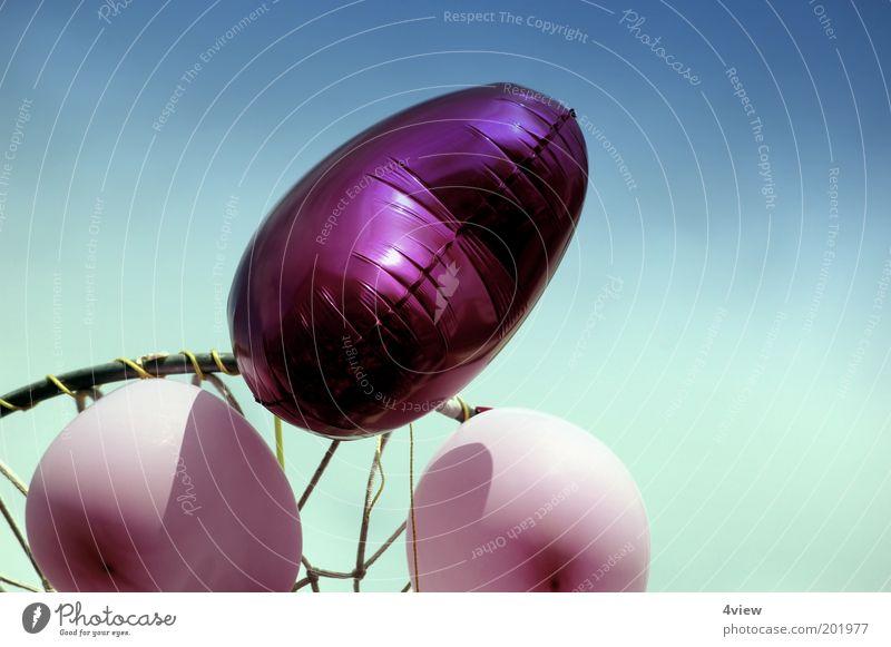 Ich wünsche mir Liebe Valentinstag Netz fliegen glänzend hoch blau rosa Sehnsucht Farbe Glück Leichtigkeit Farbfoto Außenaufnahme Experiment Herz Luftballon