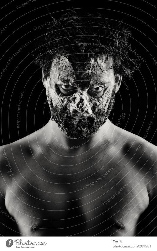Schaum vorm Mund Mensch Mann Jugendliche Gesicht dunkel nackt Haare & Frisuren Kopf dreckig Erwachsene maskulin verrückt bedrohlich Porträt Maske beobachten