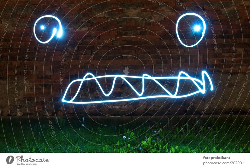 böses Licht Wand Gras Mauer Angst gefährlich bedrohlich einzigartig außergewöhnlich gruselig Schüchternheit Grimasse Belichtung Nacht Lichteffekt