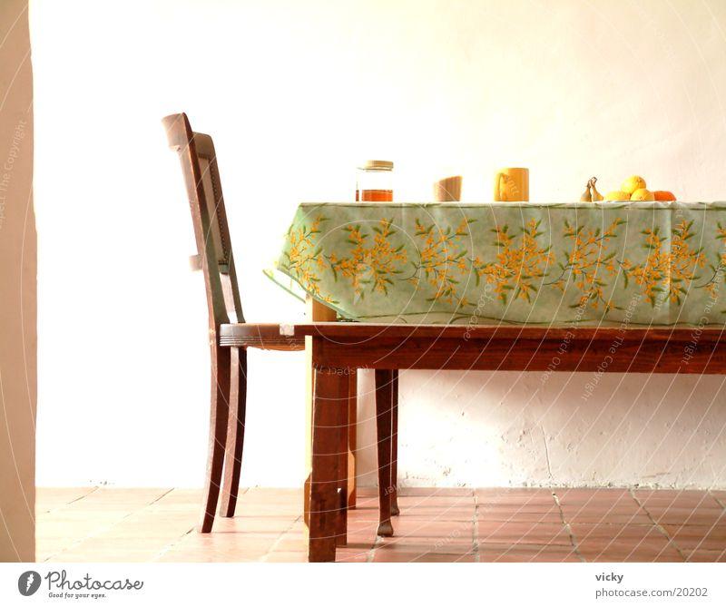 Honig, Zucker und Kaffee Kaffeetasse Tisch Esszimmer Landhaus Landleben Küche Stuhl Ernährung Küchentisch Frucht