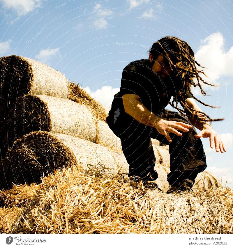LANDEANFLUG Lifestyle Stil Sportler Le Parkour Mensch maskulin Junger Mann Jugendliche 18-30 Jahre Erwachsene Umwelt Natur Landschaft Himmel Sommer