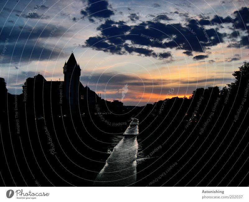 Abend über der Stadt Wasser Himmel Wolken Horizont Sonnenaufgang Sonnenuntergang Sommer Wien Österreich Hauptstadt Haus Burg oder Schloss Turm Bauwerk Gebäude