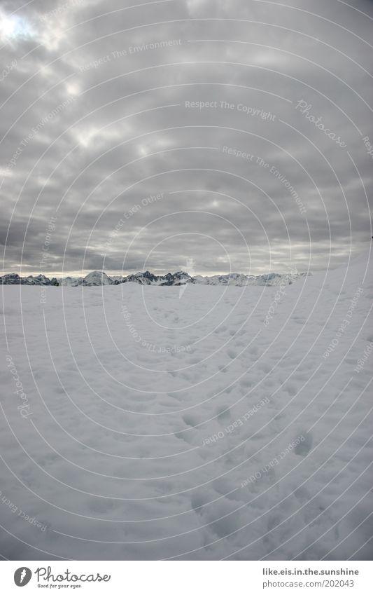 zwei spuren im schnee führ'n hinab aus steiler höh *sing* Wolken ruhig Winter Berge u. Gebirge kalt Schnee wandern Aussicht genießen Gipfel Alpen Schneebedeckte Gipfel Spuren Fußspur Winterurlaub Bergkette