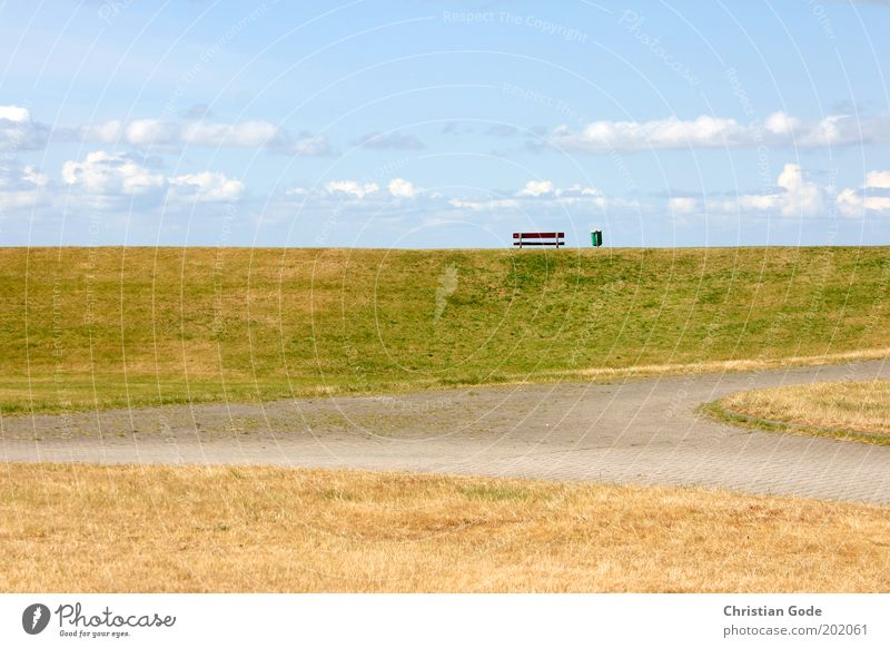 Aufm Deich Natur Himmel grün blau Pflanze Sommer Wolken Wiese Wege & Pfade Park Landschaft Küste Wetter Umwelt Horizont Pause