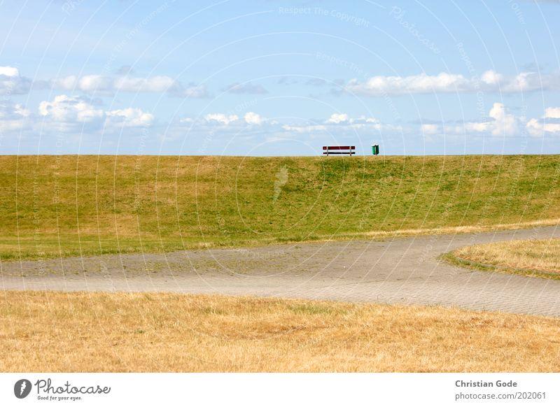 Aufm Deich Umwelt Natur Landschaft Pflanze Himmel Wolken Horizont Sommer Wetter Schönes Wetter Park Wiese Hügel Küste Nordsee blau grün Bank Müllbehälter