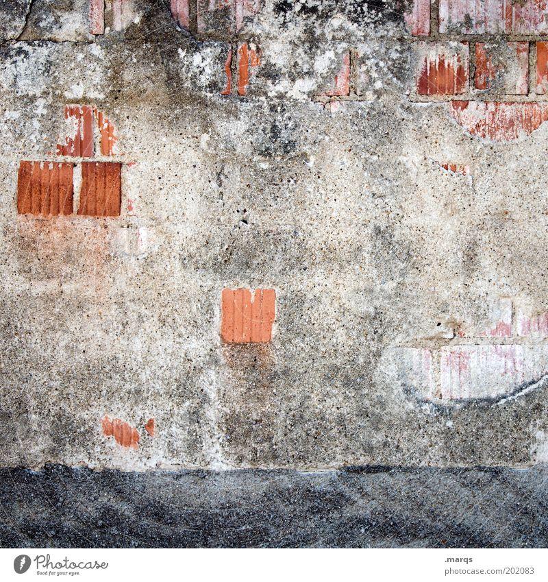 Brick Hausbau Renovieren Baustelle Bauwerk Gebäude Mauer Wand Backstein bauen kaputt Verfall Fassade Textfreiraum Gedeckte Farben Außenaufnahme Nahaufnahme Putz