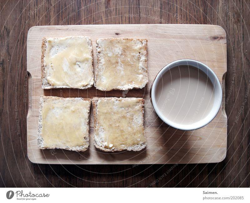 Kaffeepause Lebensmittel Honig Toastbrot Ernährung Frühstück Kaffeetrinken Getränk Heißgetränk Tasse Becher Schneidebrett Tisch heiß lecker Zufriedenheit