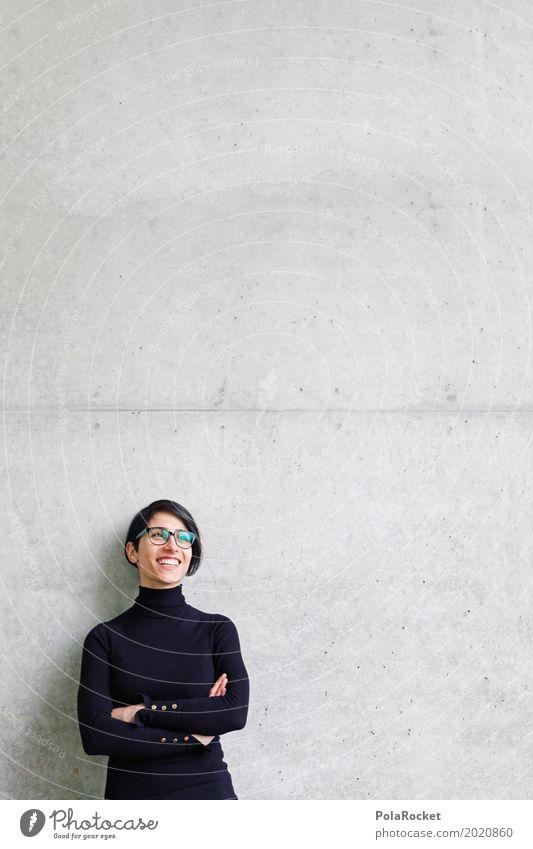 #A# 200 Good News Kunst ästhetisch Frau lachen Lächeln Betonwand Freude Karriere Zukunft Futurismus Optimismus Zukunftsorientiert Zukunftstraum offen