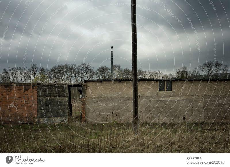 Vergangenheit Umwelt Natur Landschaft Wolken Gewitterwolken schlechtes Wetter Wiese Ruine Gebäude Mauer Wand Einsamkeit Endzeitstimmung Leben Misserfolg