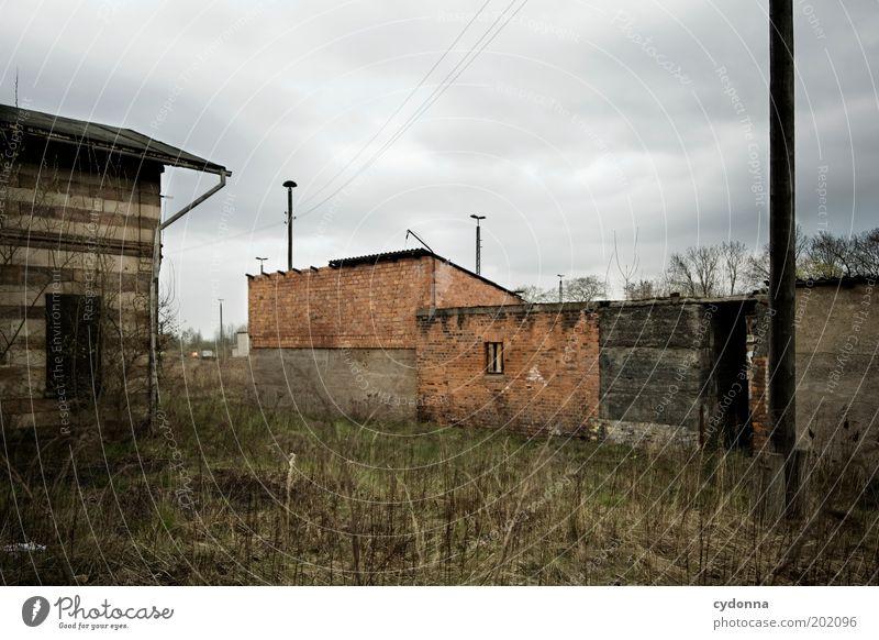 Tristesse Umwelt Natur Landschaft Wolken schlechtes Wetter Wiese Ruine Architektur Mauer Wand ästhetisch Einsamkeit Endzeitstimmung kalt Langeweile Leben ruhig