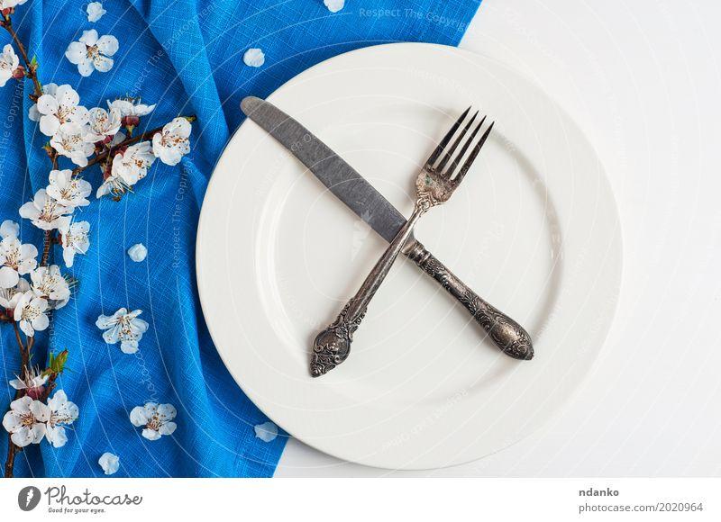 Gekreuztes Messer und Gabel auf einer leeren weißen Platte Mittagessen Abendessen Teller Besteck Tisch Küche Restaurant Blume Holz Metall Stahl alt Essen oben