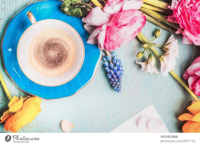 Tasse Kaffee und Blumen Natur Sommer Blatt Blüte Frühling Liebe Stil Design Freizeit & Hobby Häusliches Leben Dekoration & Verzierung retro Tisch Getränk