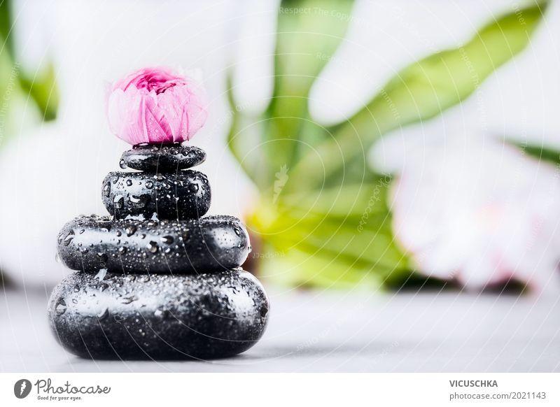 Stapel von heißen Massage Steinen Design Gesundheit Wellness Kur Spa Sommer Dekoration & Verzierung Natur rosa Stil Hintergrundbild Blume Behandlung Erholung