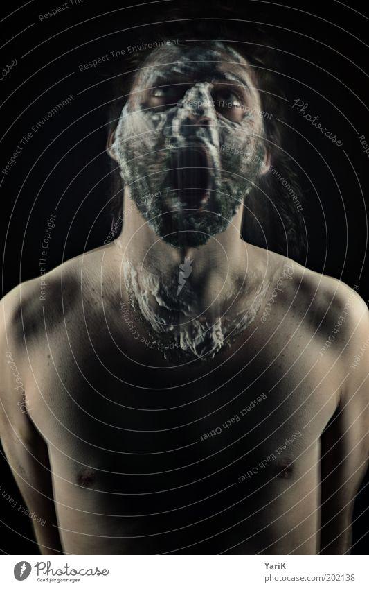 aus der Haut fahren maskulin Junger Mann Jugendliche Erwachsene Kopf Gesicht Bart Brust 1 Mensch 18-30 Jahre schwarzhaarig brünett Vollbart Bewegung schreien