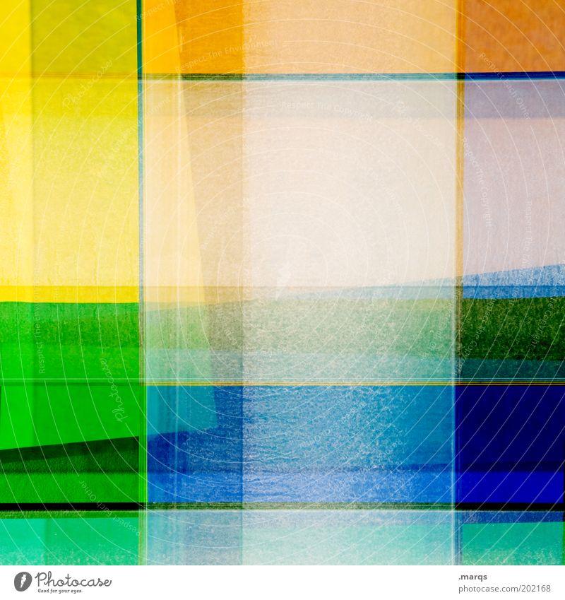 Malkasten grün blau gelb Farbe Stil Linie orange Kunst Hintergrundbild Design Lifestyle abstrakt mehrfarbig einzigartig außergewöhnlich Teilung