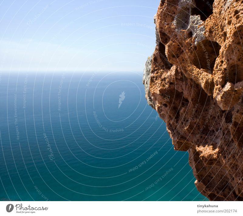 angefressen Natur Wasser Himmel Meer blau Sommer Ferien & Urlaub & Reisen Ferne Erholung Freiheit träumen Landschaft frei Felsen Schönes Wetter Licht