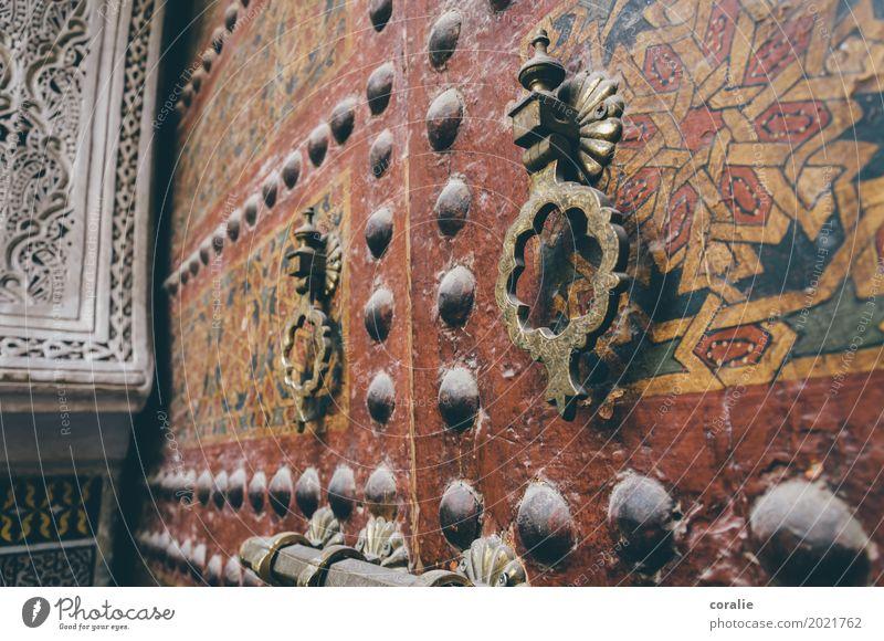 Tor zum Orient Altstadt Religion & Glaube Islam Moslem Moschee Marokko Fes Marrakesch Eingangstor Eingangstür Griff Klingel Ornament verziert Handwerk