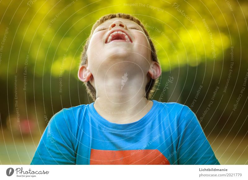 Lachen Mensch Kind Natur blau Sommer grün Freude Leben gelb natürlich Junge lachen Glück maskulin blond Kindheit