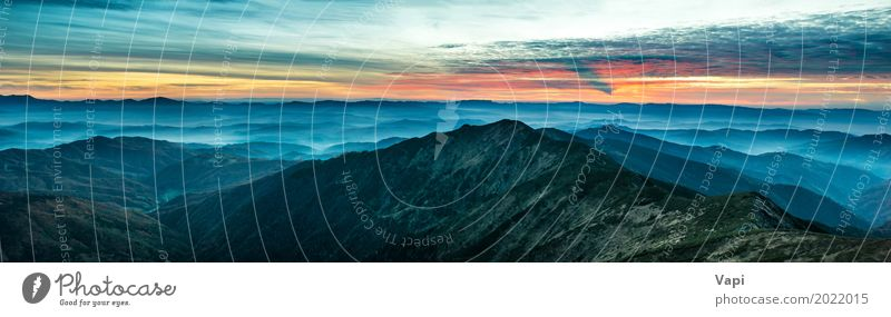 Himmel Natur Ferien & Urlaub & Reisen blau Sommer Farbe grün weiß Sonne Landschaft rot Wolken Ferne Wald Berge u. Gebirge schwarz