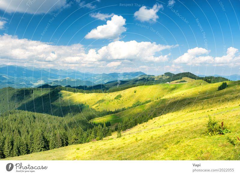 Grünes sonniges Tal in den Bergen und in den Hügeln Himmel Natur Ferien & Urlaub & Reisen Pflanze blau Sommer schön grün weiß Sonne Baum Landschaft Wolken Wald
