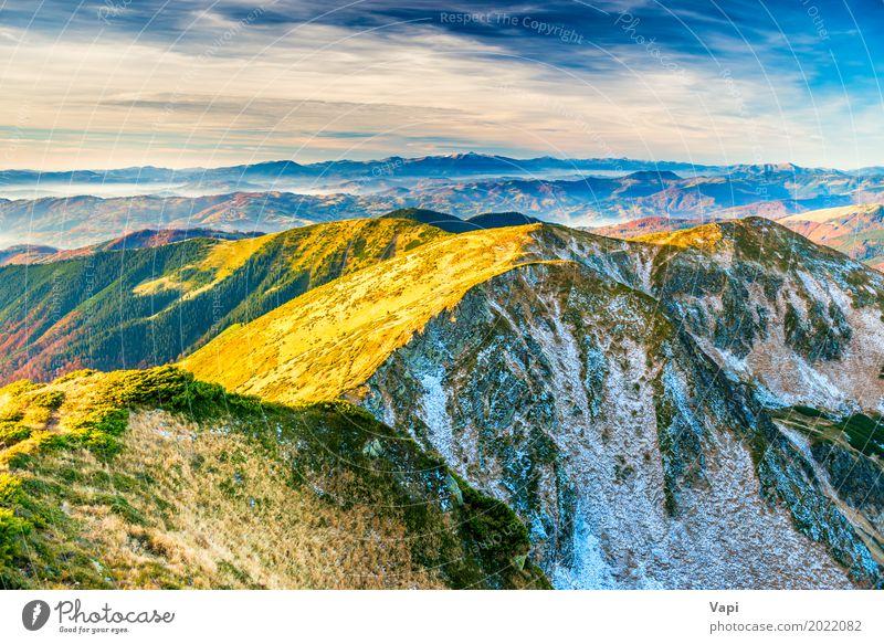 Sonnenuntergang in den Bergen Ferien & Urlaub & Reisen Tourismus Ferne Sommer Winter Schnee Berge u. Gebirge Umwelt Natur Landschaft Pflanze Himmel Wolken