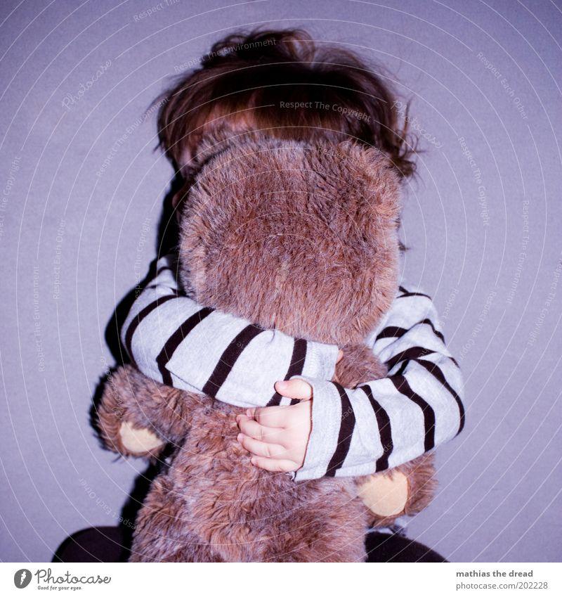 HAB DICH LIEB Mensch Mädchen Freude Liebe Spielen Gefühle Glück Freundschaft Kindheit Zufriedenheit schlafen Sicherheit Streifen violett Kind Kleinkind