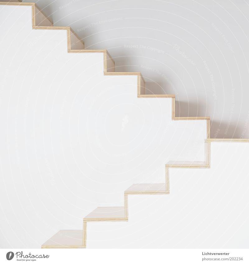 Steig! Auf! weiß Haus Wand oben Holz Stein Mauer Kunst Architektur Treppe modern Sauberkeit abstrakt unten eckig