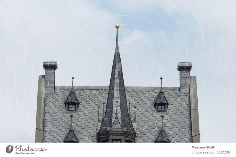 Krönung Himmel Stadt Haus Deutschland Europa Spitze Dach Leipzig Altstadt Rathaus Dachfenster