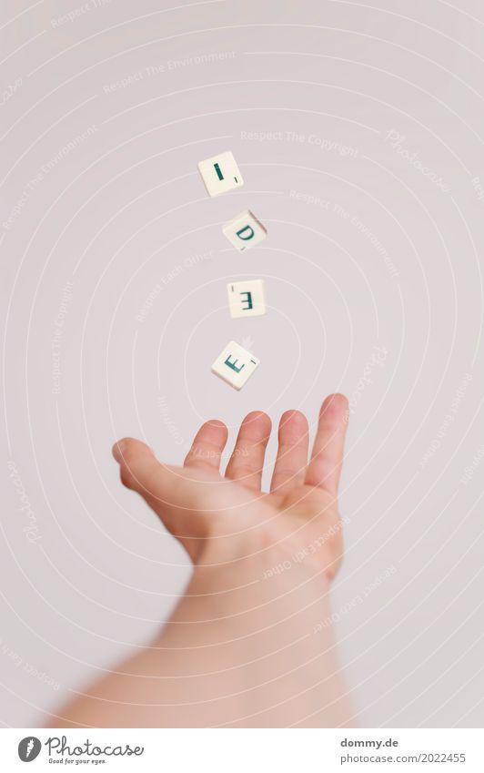 ich hätte eine... Mensch grün weiß Hand Freude Bewegung Stein Denken maskulin retro Schriftzeichen Kommunizieren Kreativität Arme Finger Zeichen