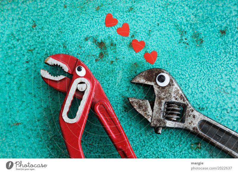 Liebe ist .......Abweisung. Eine Zange und ein Schraubendreher mit Augen und Herzen Beruf Handwerker Arbeitsplatz Baustelle Dienstleistungsgewerbe Werkzeug