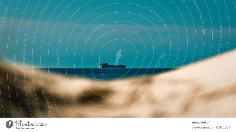 Binnenschifffahrt #2 Himmel Sonne Meer blau Strand Ferien & Urlaub & Reisen Ferne Wege & Pfade Sand Wasserfahrzeug Güterverkehr & Logistik Reisefotografie