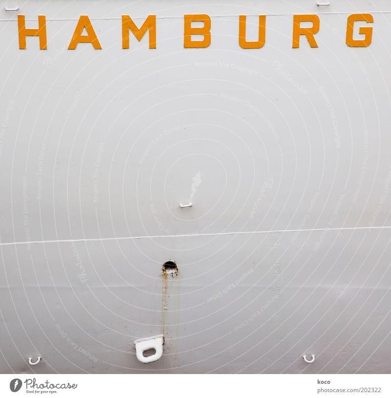 Ich war dort! weiß Ferien & Urlaub & Reisen gelb Metall Hamburg Fassade Güterverkehr & Logistik Schriftzeichen einfach Hafen Schifffahrt Wasserfahrzeug Verkehrsmittel Städtereise Containerschiff