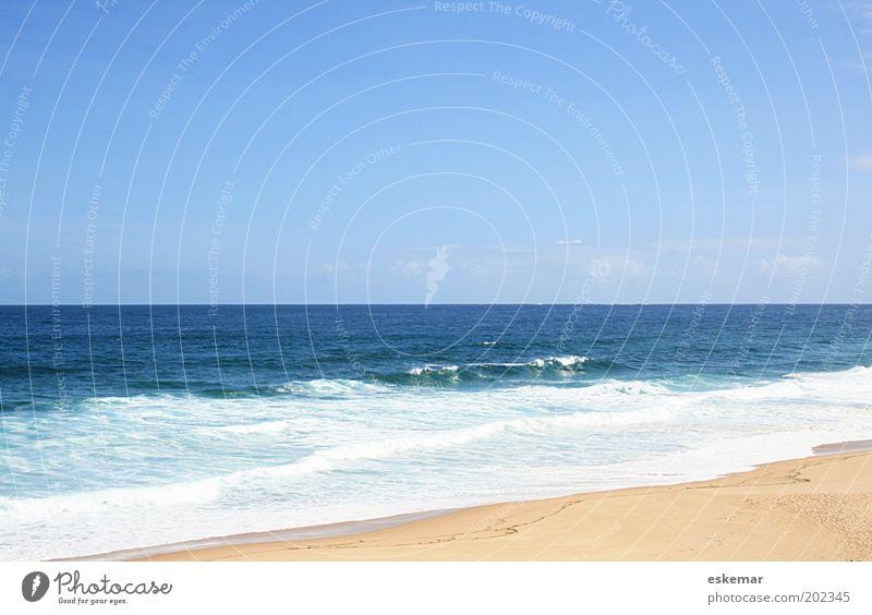 Strand Umwelt Natur Landschaft Urelemente Sand Wasser Himmel Wolkenloser Himmel Horizont Schönes Wetter Wellen Küste Meer Atlantik Sandstrand Zufriedenheit