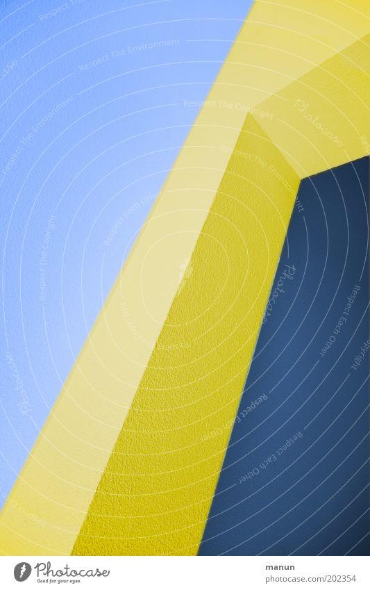Kantenphysik Architektur Mauer Wand Fassade blau gelb Design Farbe modern diagonal Linie Farbfoto abstrakt Muster Strukturen & Formen Hintergrund neutral