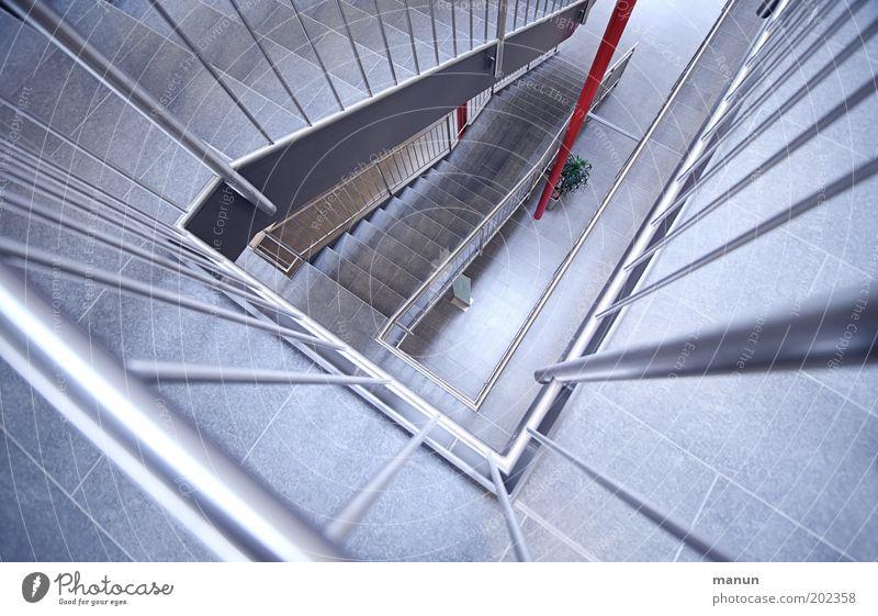 up'n down blau Ferne kalt Stil oben Stein Gebäude Metall Architektur glänzend elegant Lifestyle Perspektive Treppe modern