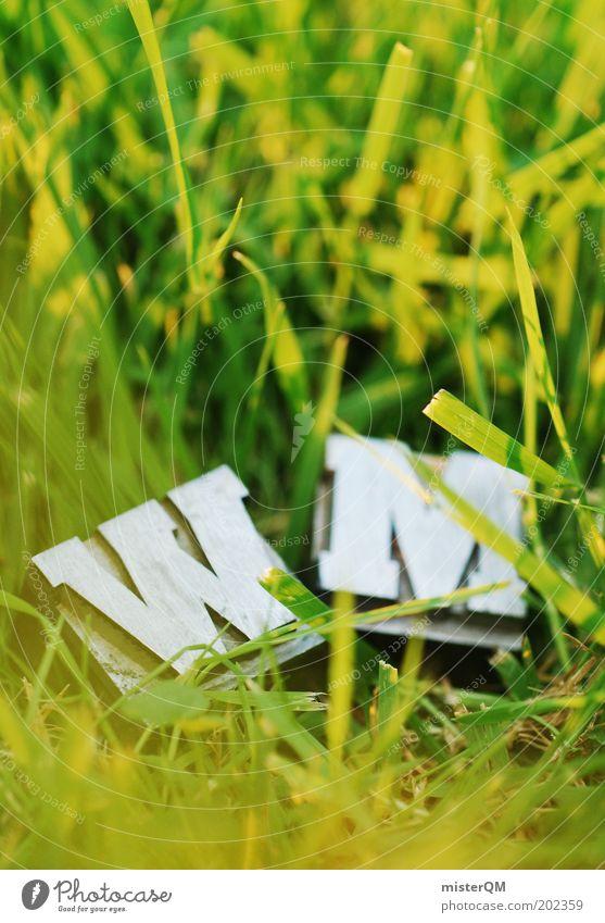 WM. grün Fußball Design Rasen Sportrasen Buchstaben Werbung Spielfeld Halm Sportveranstaltung Schönes Wetter Erwartung Makroaufnahme Vorfreude Fußballplatz