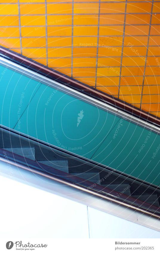 subway entrance blau Stadt gelb orange Treppe Fliesen u. Kacheln türkis U-Bahn Bahnhof stagnierend elektronisch S-Bahn Rolltreppe Verkehrsmittel U-Bahnstation