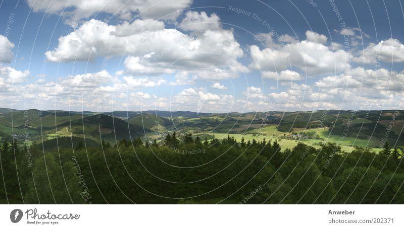 Panorama Hochsauerland vom Wilzenberg Natur Himmel weiß grün blau Pflanze Sommer Ferien & Urlaub & Reisen Wolken Ferne Wald Wiese Berge u. Gebirge Landschaft