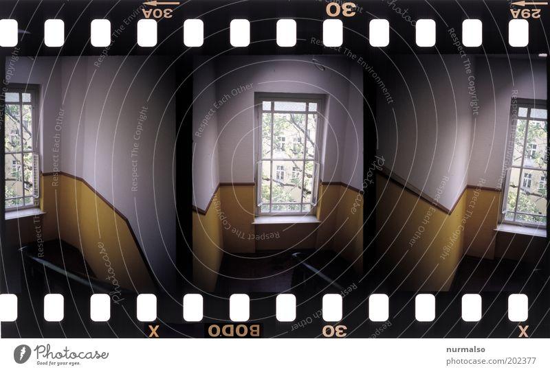 3in1 Treppenhaus Lifestyle Kunst Schönes Wetter Baum Menschenleer Haus Fenster Flur Geländer Zeichen gehen Häusliches Leben dunkel eckig oben trashig trist Ende
