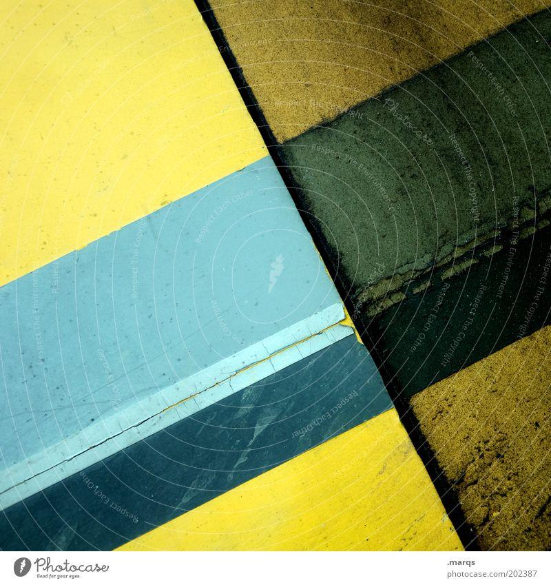Used Stil Design Linie Streifen dreckig einfach blau gelb Farbe Präzision Verfall Grafik u. Illustration alt Farbfoto Detailaufnahme Strukturen & Formen Muster