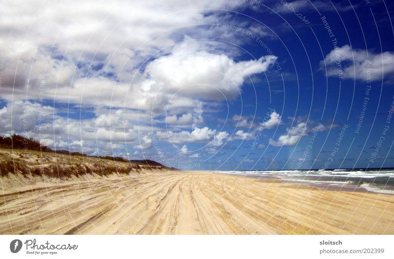 Beach Ferne Freiheit Meer Sand Wasser Wolken Horizont Sonne Hoffnung Tag Zentralperspektive Strand Stranddüne blau