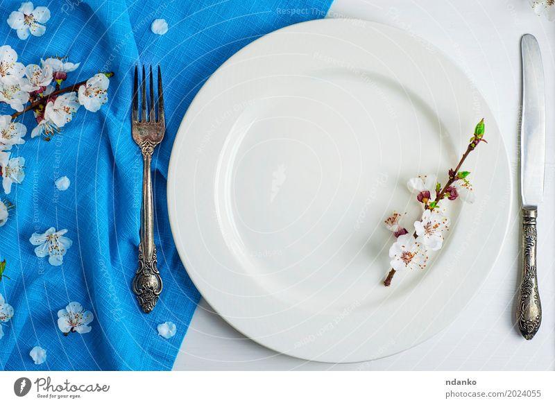 weiße Keramikplatte mit Eisen Vintage Besteck Mittagessen Abendessen Teller Gabel Tisch Küche Restaurant Blume Platz Holz Metall Stahl alt Essen oben retro blau