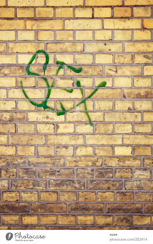 Titelthema Mauer Wand Fassade Backstein Zeichen Schriftzeichen Graffiti Sex gelb Typographie Buchstaben Sexualität Schmiererei Wort Backsteinwand
