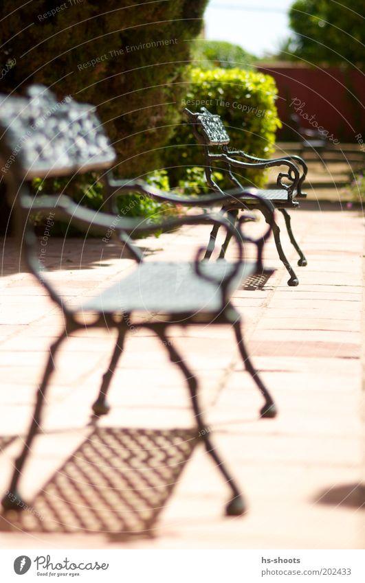 Plätze Frei in der Sonne Terrasse Terrakotta braun rot Farbfoto Außenaufnahme Menschenleer Tag Unschärfe Schwache Tiefenschärfe Park Schatten Metall Bank