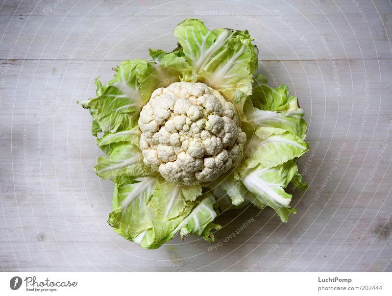 Gemüse-Fußball lecker Blumenkohl Kohlblätter Ernährung Gesundheit offen Holztisch weiß Maserung Strukturen & Formen frisch Vogelperspektive Kohlgewächse Geruch