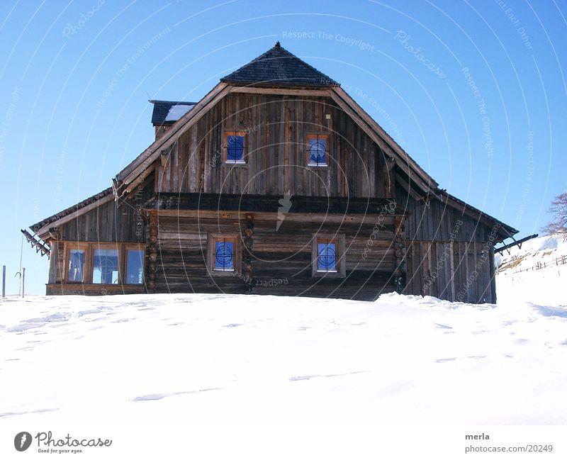 skihütte Lifestyle Freude Glück Wohlgefühl Ferien & Urlaub & Reisen Tourismus Winter Schnee Winterurlaub Berge u. Gebirge Haus Hügel Alpen Hütte Holzhütte