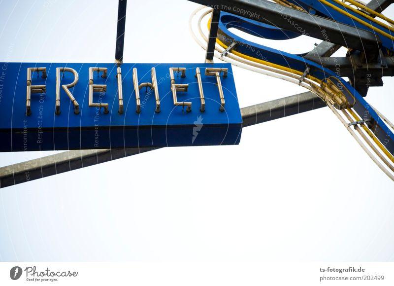 Freiheit blau gelb Freiheit oben grau Metall Musik Schilder & Markierungen Tourismus Schriftzeichen Hinweisschild Zeichen Wahrzeichen Sightseeing Sehenswürdigkeit Neonlicht